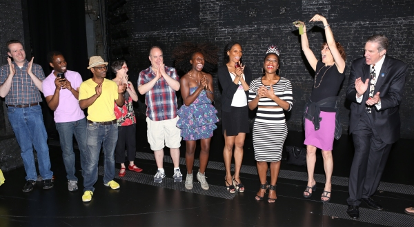 Tracee Beazer with cast and guests during  the Opening Night Actors'' Equity Gypsy Robe Ceremony honoring Tracee Beazer for ''Holler if Ya Hear Me'' on June 19, 2014 at the Palace Theatre  in New York City.