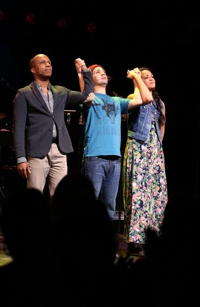 Leslie Odom Jr., Lin-Manuel Miranda and Karen Olivo