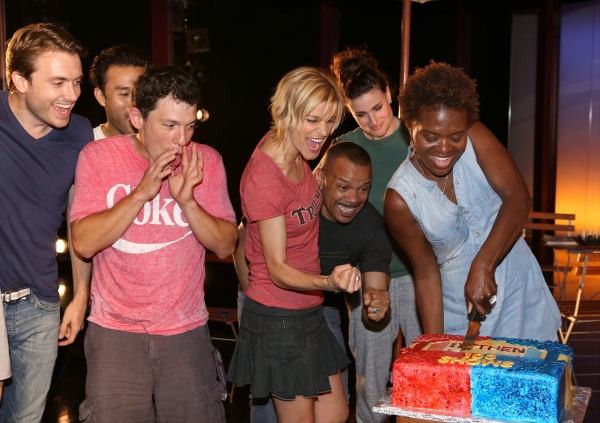 James Snyder, Marc delaCruz, Miguel Cervantes, Jerry Dixon, Jenn Colella, Idina Menzel and LaChanze with the ensemble cast