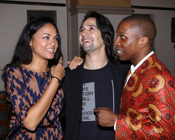Karen Olivo, Lin-Manuel Miranda and Leslie Odom Jr.