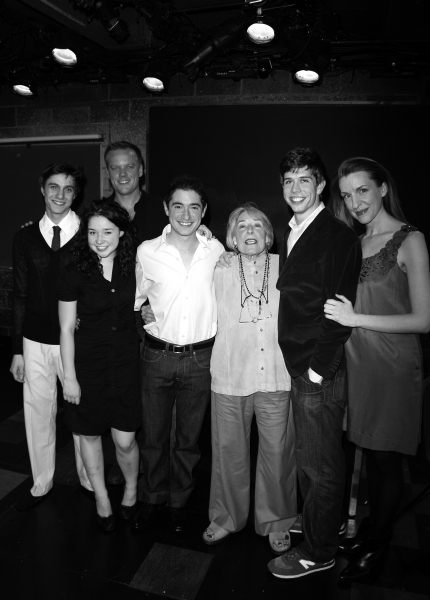 Gideon Glick, Sarah Steele, Jason Moore (Director), Jason Fuchs,  Mary Rodgers Guettel, Stephen Karam (Playwright) & Susan Blackwell at the Opening Night of the Roundabout Theatre Company''s Production of SPEECH & DEBATE at the Black Box Theatre in New Yo