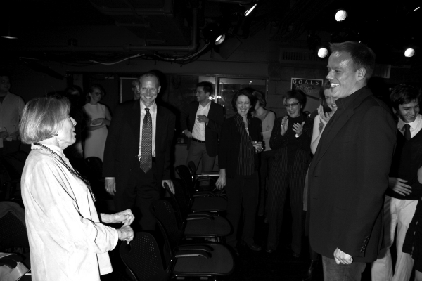 Director Jason Moore greets Mary Rodgers Guettel & guests at the Opening Night of the Roundabout Theatre Company''s Production of SPEECH & DEBATE at the Black Box Theatre in New York City. October 29, 2007
