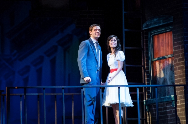 Romance blossoms on a fire escape balcony as Tony (Ryan Vasquez) and Maria (Ali Ewoldt) sing ''Tonight''