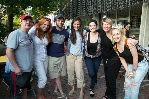 (from left) actors Michael McGrath, Carolee Carmelo, and Jeremy Jordan, director Dian Photo