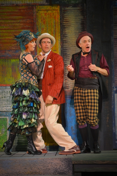 Patty Gallagher as the Courtesan, Adrian Danzig as Antipholus, and Danny Scheie as Dromio
