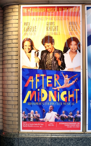 Billboard for ''After Midnight'' starring Patti Labelle, Gladys Knight and Natalie Cole as the special guest stars i''After Midnight''  at the Brooks Atkinson Theatre on June 29, 2014 in New York City.