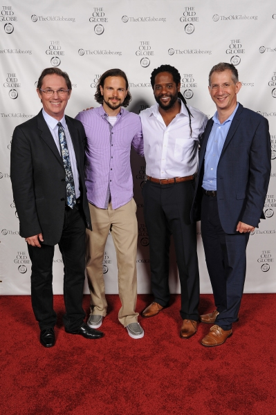 Artistic Director and Othello director Barry Edelstein (far right) with cast members (from left) Richard Thomas, Jonny Orsini, and Blair Underwood