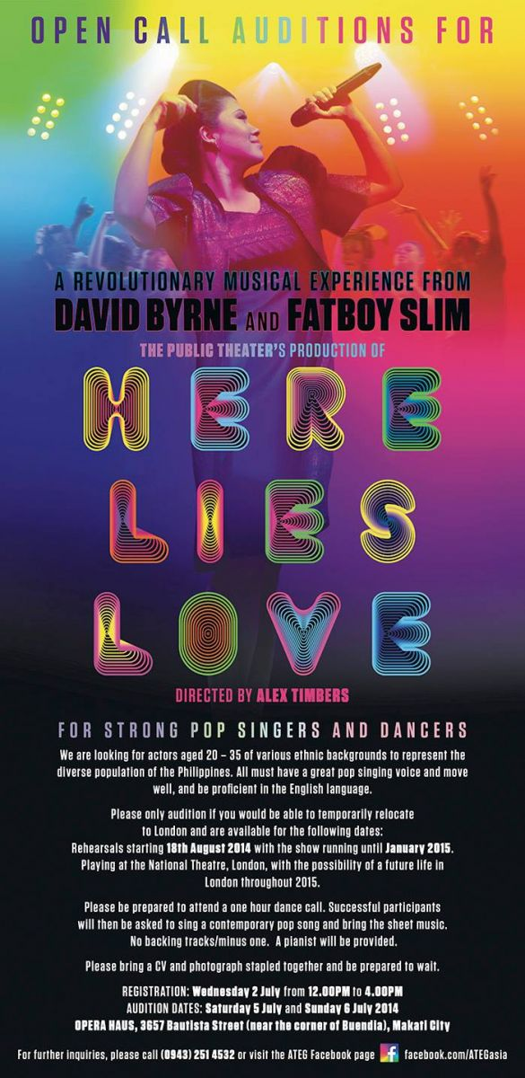 HERE LIES LOVE to Play London's Dorfman Theatre; Auditions Set In Manila, 7/5-6