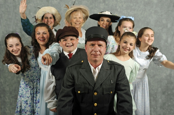 Gene Pullen, front, as the Motorman with, second row from left, Abby Kenna, Marissa Marciano, Daniel Brugger, Jeanette Smith, Marissa Carroll and Mary Burke; third row from left, Stacy Danka, Gretchen Zimmer and Joanna Haupt.