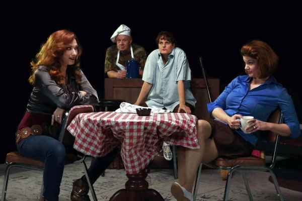 """Peaks and Valleys �"""" Left to right Autunm Woods, David Cleveland, Cheryl Tanner, Malinda L. Beckham. East Texas Waitresses struggle through lifes Valleys to get to it's peaks."""