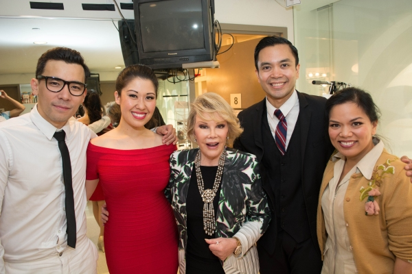Joan Rivers with Conrad Ricamora, Ruthie Ann Miles, Jose Llana and Melody Butiu (Estrella)