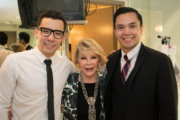 Joan Rivers with Conrad Ricamora (Ninoy Aquino) and Jose Llana (Ferdinand Marcos) Photo