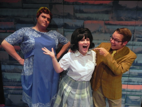 Daniel Mollett (Edna), Angela DiCocco (Tracy) and Joey Logan (Wilbur)