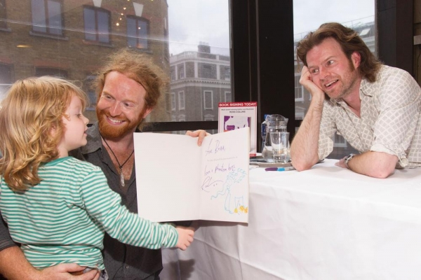 Newton Faulkner and family with Ross Collins at the ELEPHANTOM opening Photo
