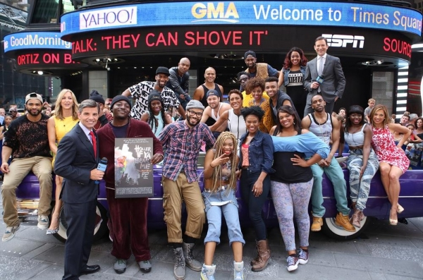 GOOD MORNING AMERICA - The cast of Broadway''s Tupac musical, ''Holler if Ya Hear Me,'' perform live on ''Good Morning America,'' 7/8/14, airing on the ABC Television Network.   (ABC/Fred Lee)LARA SPENCER, GEORGE STEPHANOPOULOS, CAST OF HOLLER IF YA HEAR