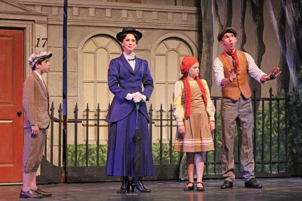 Nolan Lyons (Michael Banks), Gail Bennett (Mary Poppins), Alison Cordaro (Jane Banks) and Tony Mansker (Bert)