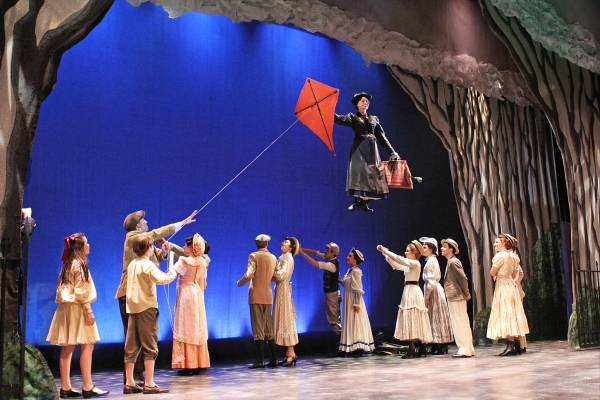 Gail Bennett (Mary Poppins, top) with ensemble