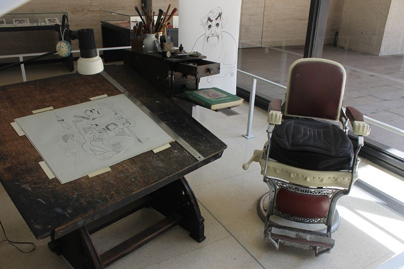 Treasures of NY Public Library for the Performing Arts - Al Hirschfeld's Drawing Table and Barber's Chair