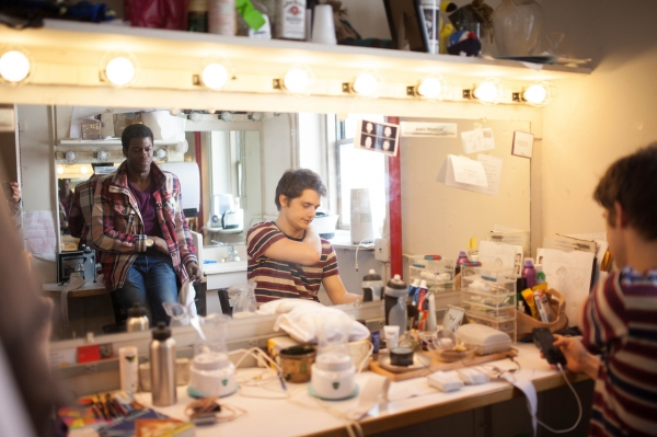 Kyle Scatliffe and Andy Mientus enjoy a quick pre-show chat in their dressing room. Photo by Max Gordon Photography.