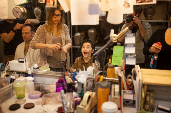 Adam Monley gets stage ready as Sarah Levine applies make-up to a very enthusiastic J Photo