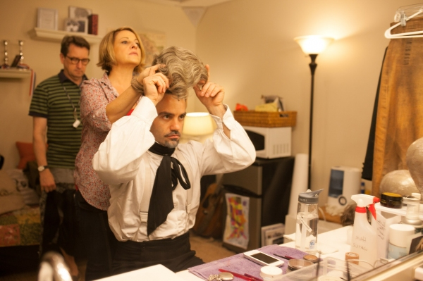 Dresser Lyle Jones watches on as Hair Supervisor Susan Corrado wigs Ramin Karimloo for a pivotal scene. Photo by Max Gordon Photography.
