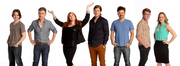 The Cast of PUMP BOYS AND DINETTES: Jordan Dean, Hunter Foster, Mamie Parris, Randy Redd, Katie Thompson and Lorenzo Wolff