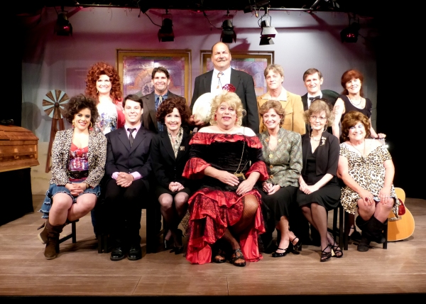 The Cast of Sordid Lives (seated from left) Samantha Barrios, Michael Sandidge, Aliso Photo