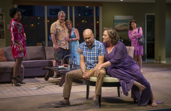 Regine (Karen Aldridge), Gary (Keith Kupferer), Teri (ensemble member Kate Arrington), Chris (Greg Stuhr), Deb (Kirsten Fitzgerald) and Kristy (Diane Davis)