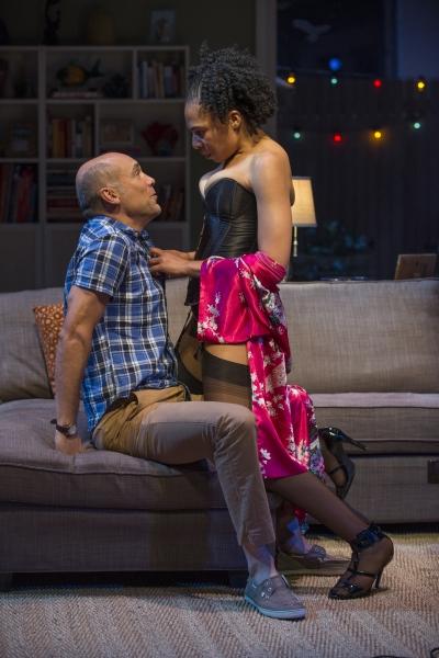 Chris (Greg Stuhr) and Regine (Karen Aldridge) get intimate  Photo