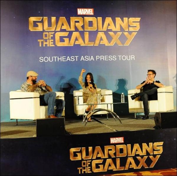 Director James Gunn, Zoe Saldana, Dave Bautista