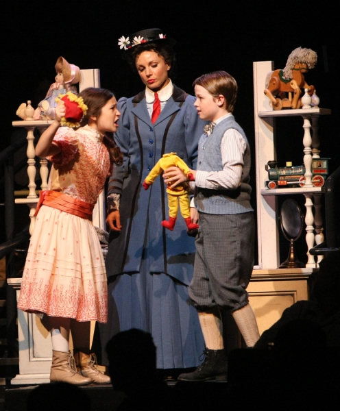 Noa Solorio (Jane Banks), Kelly McCormick (Mary Poppins) and Ben Ainley-Zoll (Michael Banks)