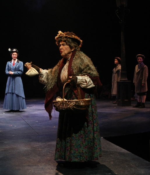 Helen Geller (Bird Woman), Kelly McCormick (Mary Poppins), Noa Solorio (Jane Banks) and Ben Ainley-Zoll (Michael Banks)