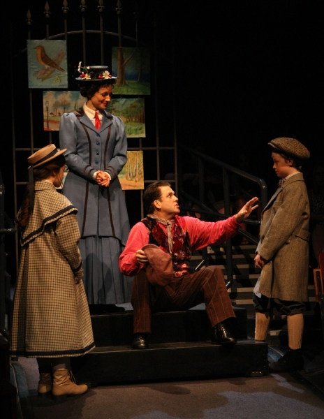 Noa Solorio (Jane Banks), Kelly McCormick (Mary Poppins), Robert Creighton (Bert) and Ben Ainley-Zoll (Michael Banks)