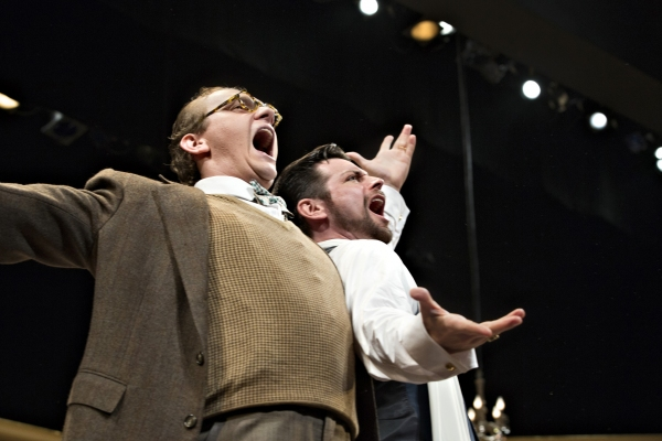 Yes: They can really sing. Perry Ojeda, right, as Tito Merelli, a world-famous tenor, offers some pointers to Max, the assistant at the Cleveland Grand Opera Company, played by Jacob Dresch