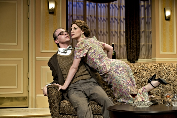Max, the assistant at the Cleveland Grand Opera Company, played by Jacob Dresch, left, tries to cover for a missing tenor to Diana, the soprano scheduled to practice with him, played by Eleanor Handley