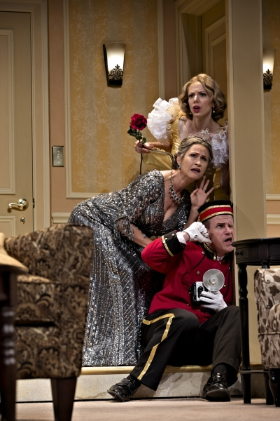 What�s going on with the visiting tenor? Deanna Gibson as Maggie, Susan Riley Stevens as Julia, and Anthony Lawton as the bellhop perform
