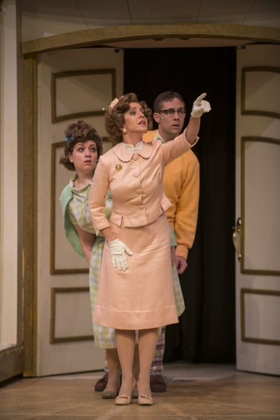 Missy Aguilar as Gloria Mundy, Mary Nigohosian as Mrs. Pennyweather and Patrick Tierney as Percy Pennyweather