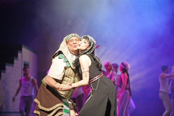 Mr. and Mrs. Potiphar (Nicholas F. Saverine and Brooke Lacy) kiss and during a colorful Megamix.