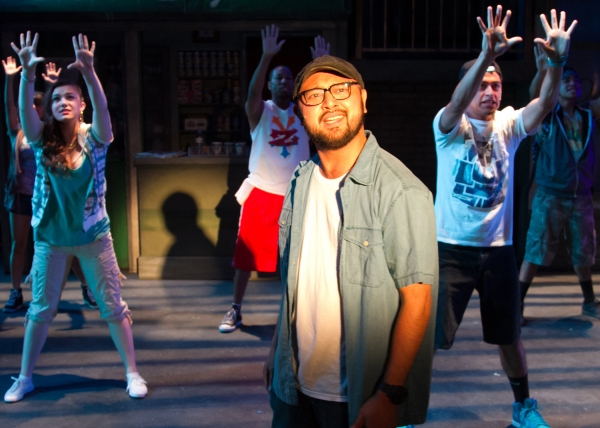 Joshua Lopez as Usnavi with ensemble members Sarah Pierce, Fabio Antonio and Ruben Carbajal as Sonny