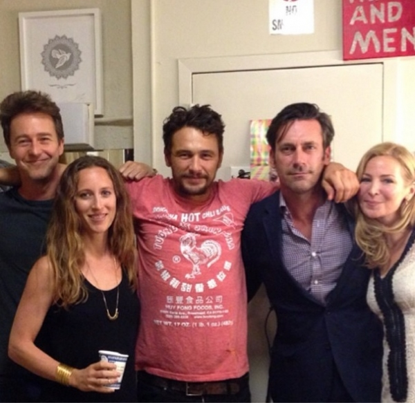 James Franco, Jon Hamm, Jennifer Westfeldt and Edward Norton backstage at OF MICE AND MEN