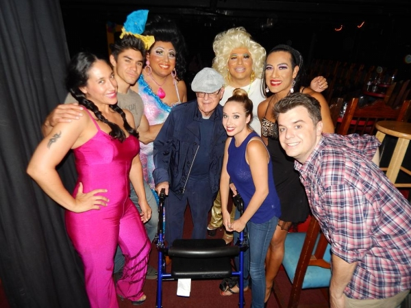 David L. Landers (center) with Chico''s Angels cast (L to R) Cher Ferreyra, Duke Shoman, Kay Sedia,Frieda Laye, Natalie Lander, Chita Parole, and Kurt Koehler