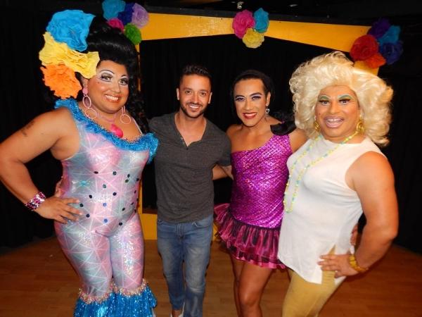 Jai Rodriguez with Kay Sedia, Chita Parole, Frieda Laye