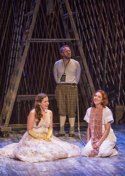 Claire Karpen as Cinderella, Andy Grotelueschen as Milky White, and Jessie Austrian as Baker''s Wife