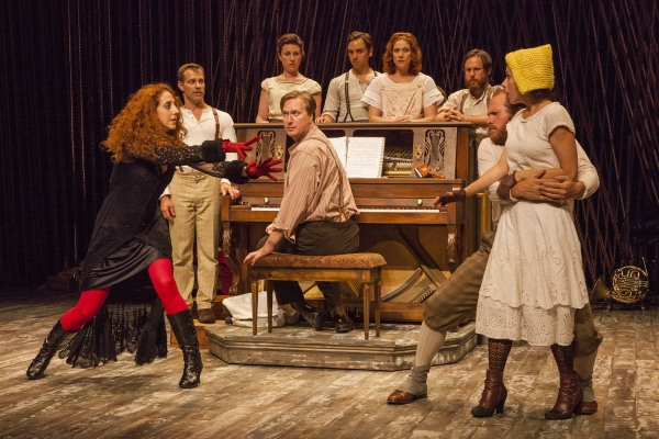 Alison Cimmet as Witch (far left) with the cast of INTO THE WOODS