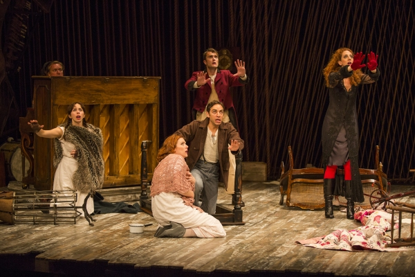 Emily Young as Little Red Ridinghood, Jessie Austrian as Baker''s Wife, Patrick Mulryan as Steward, Ben Steinfeld as Baker, and Alison Cimmet as Witch with Matt Castle at the piano