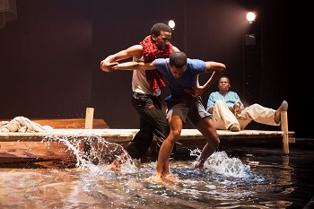 Philip Dikotla, Shaun Oelf and Mncedisi Shabangu in FISHERS OF HOPE (TAWARET)