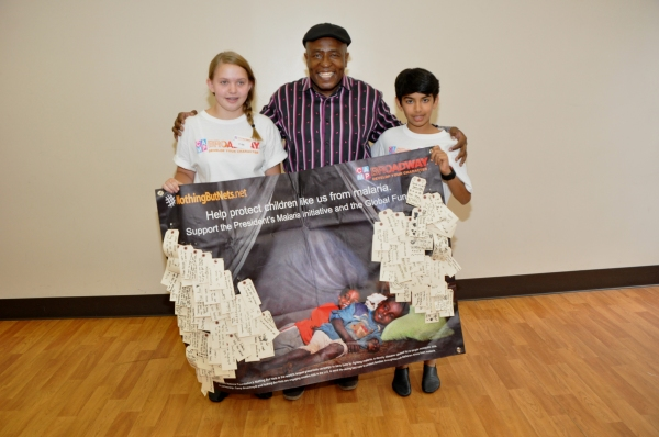 Ron Kunene and The Camp Broadway Kids Contest Winners-Kira Dean and Toshaan Arora