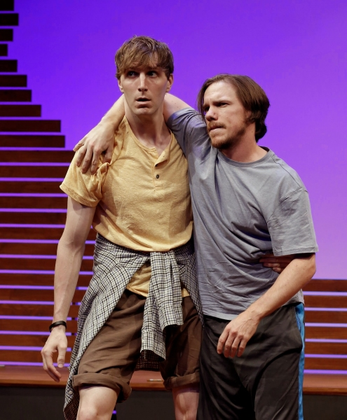 A scene from The Sky and the Limit by Roger Hedden, directed by Billy Hopkins with Alex Breaux and Shane Patrick Kearns