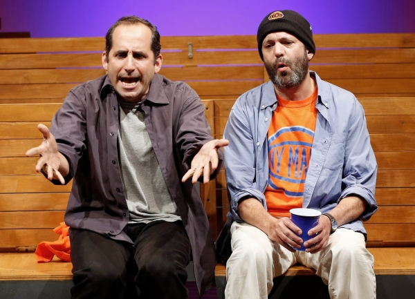 A scene from Sec. 310, Row D, Seats 5 and 6 by Warren Leight, directed by Fred Berner with Peter Jacobson and Geoffrey Cantor