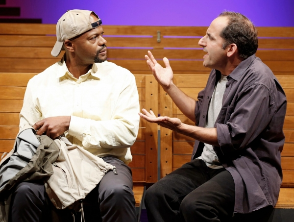 A scene from Sec. 310, Row D, Seats 5 and 6 by Warren Leight, directed by Fred Berner with Cezar Williams and Peter Jacobson